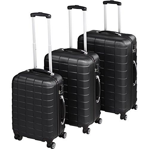 TecTake Set de 3 valises de Voyage de ABS | avec Serrure à Combinaison intégrée | poignée télescopique | roulettes 360° - diverses Couleurs au Choix (Noir | no. 402669)