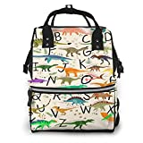 Shichangwei Diaper Bag Backpack Travel Bag Large Multifunction Waterproof Learning Alphabets with Dinosaurs Stylish and Durable Nappy Bag for Baby Care School Backpack