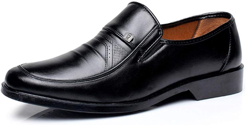 AKJC Business shoes Men Men's Dress shoes Business Men's Leather shoes Solid color Men's Work shoes Non-Slip Round Head