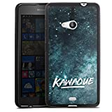 DeinDesign Silikon Hülle kompatibel mit Microsoft Lumia 535 Dual SIM Hülle schwarz Handyhülle Kawaque YouTube Galaxie