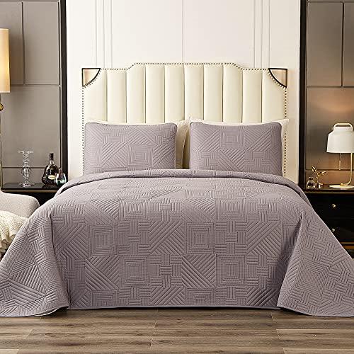 DONI Queen-Size-Bettwäsche-Set, grau, 3-teilig, wendbar, Tagesdecken-Set mit 1 Steppdecke, leichtes maschinenwaschbares Bettbezug-Set (Queen, Anthrazitgrau)