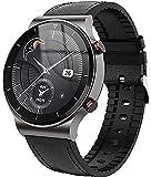 PKLG Reloj inteligente para hombre con pantalla completa de 1.3 pulgadas, con monitor de frecuencia cardíaca y presión arterial, llamada Bluetooth, reloj impermeable IP67 (negro L)