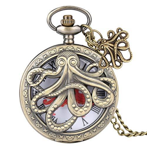 Vintage Ketten Taschenuhr,Retro Octopus Hohl Die Hälfte Jäger Quarz Römische Ziffern Pocket Watch Vintage Grau Bronze Halskette Anhänger Wecker Für Kinder Männer Frauen