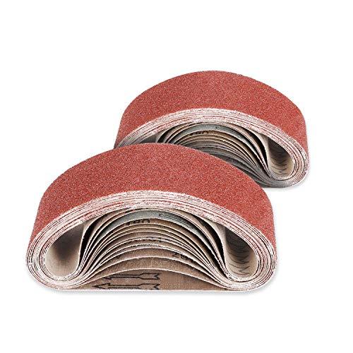 Jellas 26Pcs Bandas de Lijado de Oxido de Aluminio, 75 x 533 mm 40/60/80/120/180/240 Lijado de Tela Grano Grueso/Fino para Lijadora de Banda