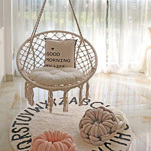 Swing&Hanging Chair, Swing Chair with 8 cm Thick Cushion, Holds up to 120 kg, Comfortable Sturdy Hanging Chairs for Indoor,Outdoor, Terrace, Balcony, Garden