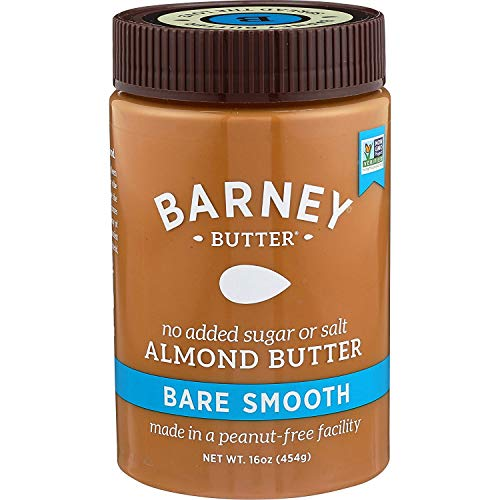 Barney Almond Butter, Bare Smooth, No Sugar No Salt, Paleo, KETO, Non-GMO, Skin-Free, 16 Ounce