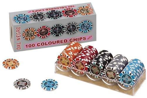 Dal Negro-DAL 100 Coloured Chips Assortito 2 Gr 14,5ori da Gioco Dadi Fiches 974, Multicolore, 8001097024698