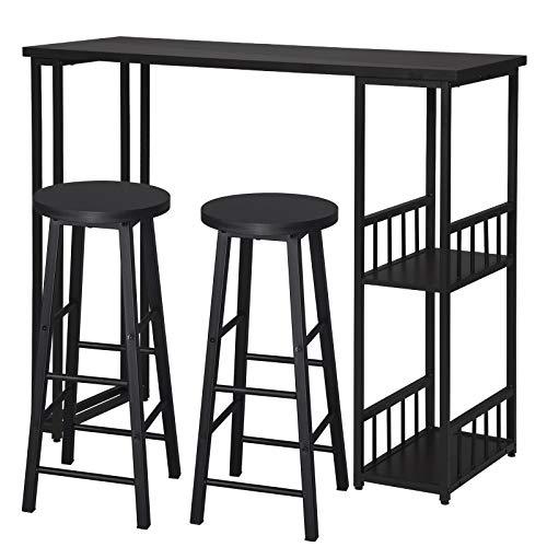 eSituro Juegos de Muebles Altas 1 Comedor Mesa y 2 Taburetes de Bar, Mesa de Bar Mesa de Cafetería Barra Cocina con Estructura de Metal con 2 Estantes 120x50x105cm Negro SBST0400+SBST0329-2