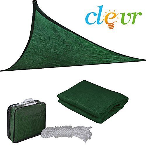 Clevr 12'x12'x12' Premium UV Triangle Sun Shade Canopy Sail for Outdoor Garden Patios & Playgrounds, Green - Includes Storage Bag