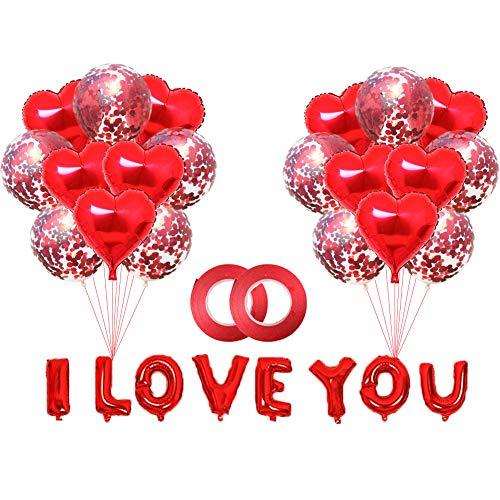 JPYZ Palloncini Cuore, 30 Pezzi Foglio di Elio Rosso Cuore Palloncini Set, Palloncini a Cuore Rosso, 16 Pollici I Love You Palloncino per Romantica San Valentino, Decorazione di Festa della Mamma