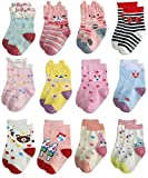 RATIVE Non Skid Anti Slip Cotton Dress Crew Socks With Grips For Baby Infant Toddler Kids Girls (1-3T, RG-726727)