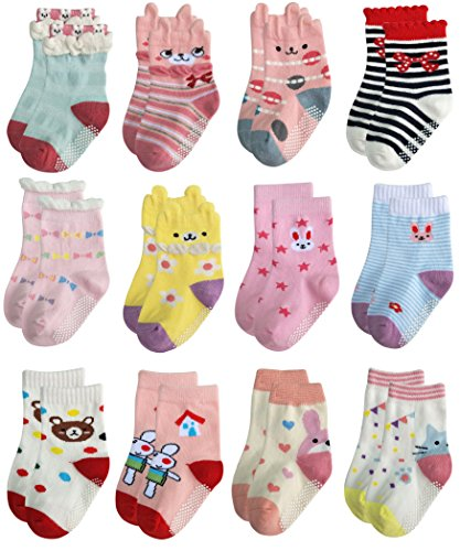RATIVE Non Skid Anti Slip Cotton Dress Crew Socks With Grips...
