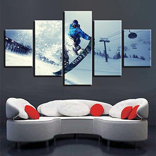HOMOPK 5-delige muurschildering op canvas foto's wintersport skiën extreme sport 5-delig muurschildering achtergrond schilderen behang druk poster keuken decor poster gift 20x35cmx2 20x45cmx2 20x55cmx1 frame.