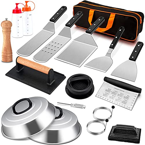 18Pcs Griddle Accessories Set, Joyfair Stainless Steel Flat Top Grill Spatula Kit For Outdoor Barbecue Teppanyaki Camping Cooking, Included Melting Dome, Burger Turner, Carrying Bag and More Tools