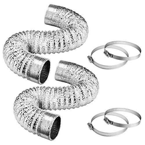 VIVOSUN 2-Pack 4 Inch 8 Feet Non-Insulated Flex Air Aluminum Ducting for HVAC Ventilation, 4 Clamps Included