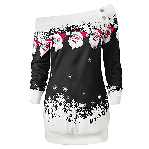 OSYARD Weihnachts Pullover Kleid Slim Fit Christmas Sweatshirt Damen, Mode Frauen Langarmshirt Frohe Weihnachten Snowflake Printing Tops Cowl Neck Strickpullover Lang Bluse Shirt