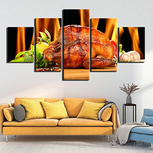 hgjfg Cuadro sobre Impresión Lienzo 5 Piezas Listo para Colgar un Marco Barbacoa de Comida HD Arte De Pared Modulares Sala De Estar Dormitorios Decoración para El Hogar Póster