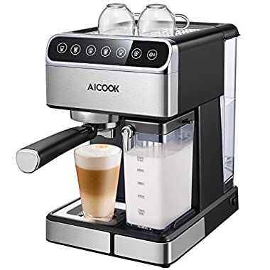 Aicook Espresso Machine, Barista Espresso Coffee Maker with One Touch Digital Screen, 15 bar Pump and Automatic Milk Frother for Cappuccino, Latte