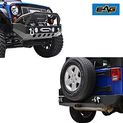 EAG Fit for 07-18 Wrangler JK Front Bumper with Winch Plate & Rear Bumper with 2' Hitch Receiver Combo