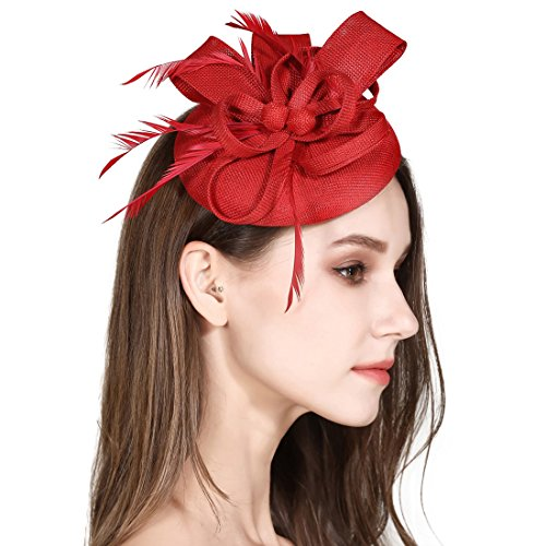 HOLDOOR Fascinator Sinamay Feather Fascinators for Women Pillbox Hat for Wedding Tea Party Kentucky Derby Cocktail Royal Banquet Hats