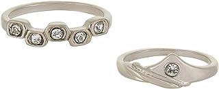 Women's Rhodium Plated Swarovski Crystal 2 Piece Ring Set - Size 5