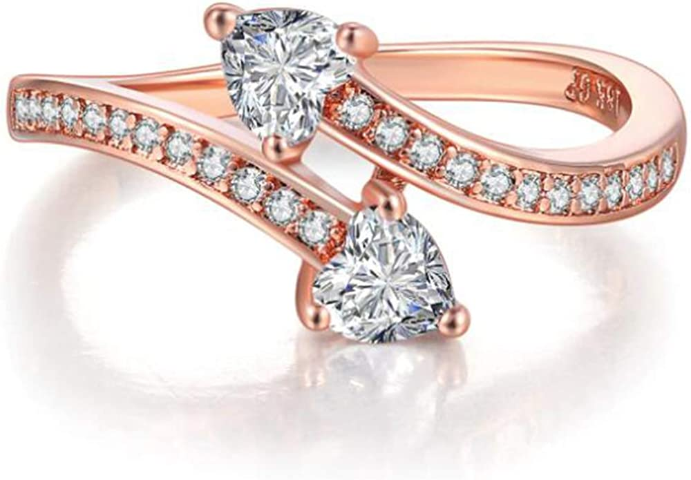 Jude Jewelers Rose Gold Heart Shaped Wave Double Stone Promise Anniversary Wedding Party Ring