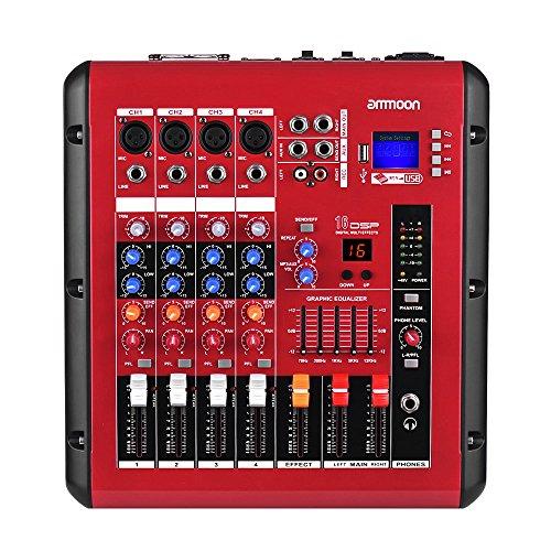 ammoon Mezclador de Audio Digital de 4 Canales Consola de Mezcla con Función de Amplificador de Potencia 48V Poder Fantasma Interfaz USB para la Grabación DJ Stage Karaoke