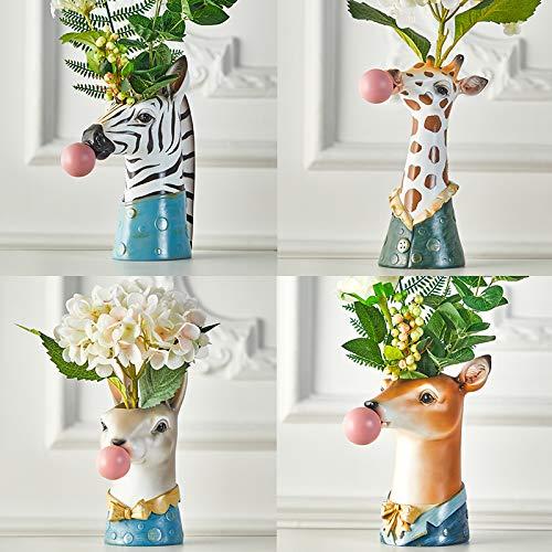 Giraffe Blowing Bubbles Creative Vase Decoration Ornaments Art Vase Artificial Flower Vase Dried Flower Vase Home Living Room Table Art Statue