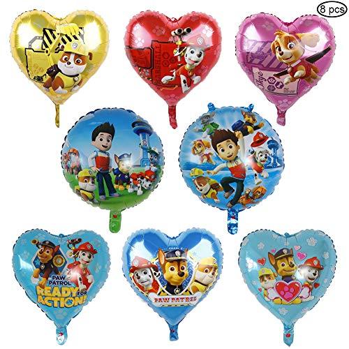 SUNSK Geburtstagsballons Ballon XXL Folienballon Luftballon Paw Hund Patrol Folienluftballon Geburtstag Deko für Kinder 8 Stück (Rund und Herz)
