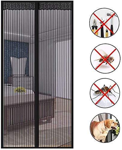 HXCD Curtain Mosquito Window Door Magnetic Clip Adhesive, Mosquito Net Insect Protection Door Magnetic Screen Door-Black,80 * 205 cm
