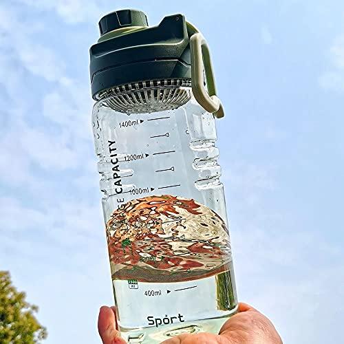 Jingyukj Bottiglia Acqua,Borraccia Sportiva 1.5 litri,Borracce a Prova di Perdite Senza BPA,Bottiglia con filtro e indicatore millilitro,Borraccia in plastica per Sport all'Aria Aperta