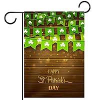 ガーデンヤードフラッグ両面 /12x18in/ ポリエステルウェルカムハウス旗バナー,緑のお祭りの旗クローバー