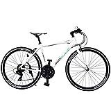 SPEAR (スペア) クロスバイク 700c アルミフレーム シマノ製 21段変速 SPCA-7021 ディレーラー Tourney(ターニー)1年保証付 適用身長160㎝以上 (ホワイト)