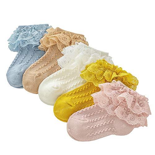 5 Pares Calcetines de Bebé Recién Nacido Calcetines de Encaje con Volantes para Niñas Pequeñas, 3-5 Años