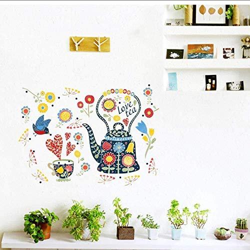 Gekleurde bloem theepot wandetiket kunst woonkamer slaapkamer glazen decoratie huis cadeau premium 60 x 45 cm