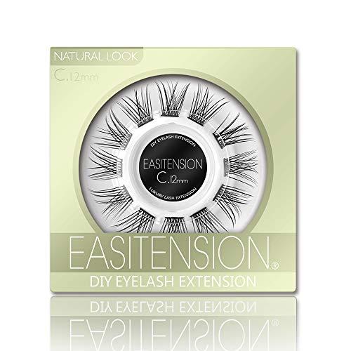DIY Eyelash Extension, Glue Bonded Band Individual Lash 12 Clusters Natural Lashes Set, Home Eyelash Extension, C curl Lashes Pack (12MM-Natural)