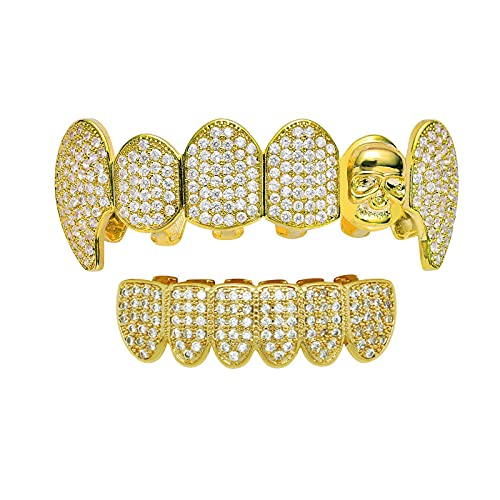 Gold Plated Iced Out Grills with Diamond Hip Hop Teeth Top and Bottom Set Extra Molding Bars Vampire Teeth Shiny Fangs Grill Dental Decorative Accessories Masquerade Best Men and Women Gifts,Gold