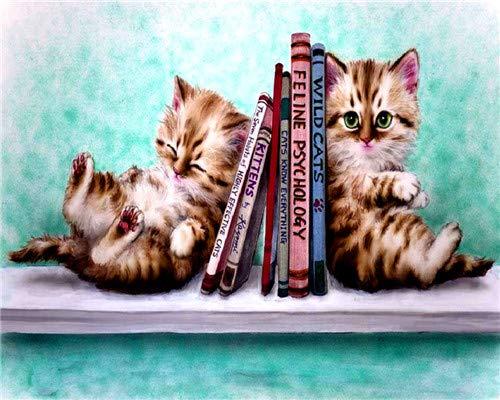CYSGJ Cyfrowy obraz olejny dla dorosłych i dzieci zgodnie z cyfrowym malowaniem farba akrylowa - książka i zwierzę kot prezenty urodzinowe i dekoracja domu 40 x 50 cm (bez ramy)