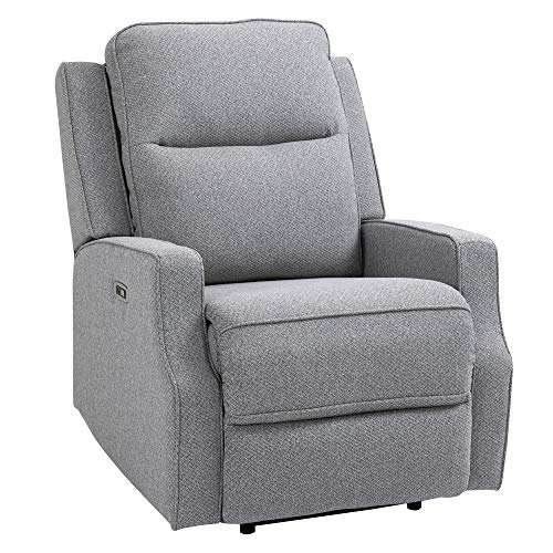 HOMCOM Wall Hugger Electric Power Recliner Chair Armchair Sofa with Linen Upholstered Seat and Backrest, Retractable Footrest, Grey