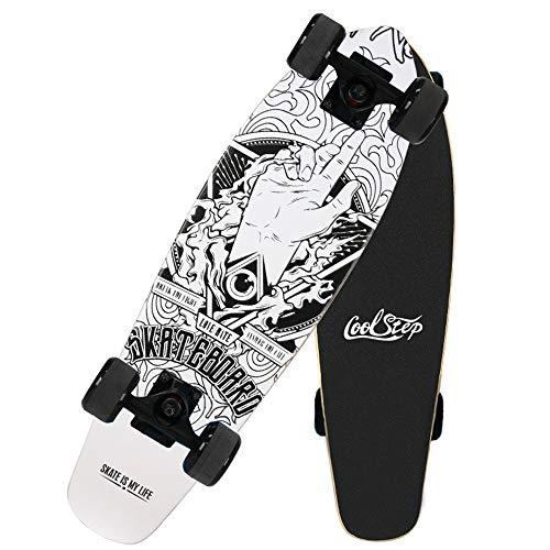 skateboard 68 cm 27 Pollici 68 cm Adulti Skateboard Ragazzi Ragazze Adolescenti Retro Complete Boards Bambini Mini Cruiser Penny Board 7 Strati Legno d'Acero Skateboards