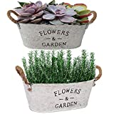 Set of 2 Rustic Metal Planters with Handles,Farmhouse Succulents and Herbs Pots,Vintage Plants Container for Indoor|Planters Not Included