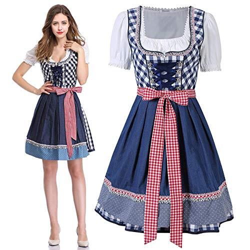 Anladia Oktoberfest Kostüm für Damen Bayerisches Maid Kleid Trachten Kleider Biermädchen Karnevalskostüme Dirndlkleid
