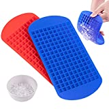 EASYXQ Mini Ice Cube Trays 2 Pack, 160 Silicone Small Ice Cube Molds, Easy Release Crushed Ice Cube for Chilling Whiskey Cocktail Cool, BPA Free Soft Mold Storage Containers