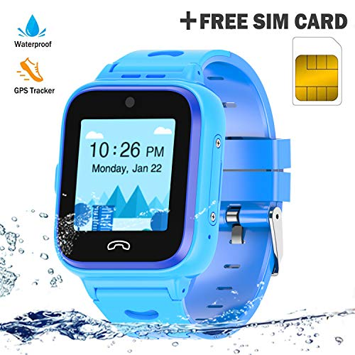 Kids Smartwatch Phone 4G with Sim Card, Anti-Lost WiFi LBS GPS Tracker Game Watch Waterproof for Children with Pedometer/Remote monitoring/FaceTalk/2-way Call/SOS, Girls and Boys Toys Age 4-12 (Blue)