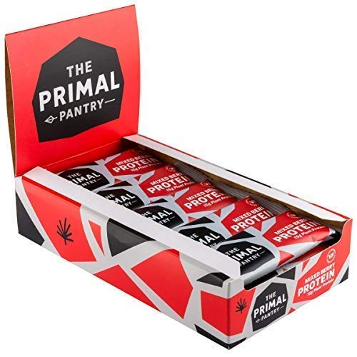 The Primal Pantry Protein Bars - Mixed Berry Protein Bars - 15 x 55g - Dairy Free, Gluten Free, SOYA Free, Vegan Protein, Paleo, 12g of Plant Protein per bar, Hemp Protein- Qty 15