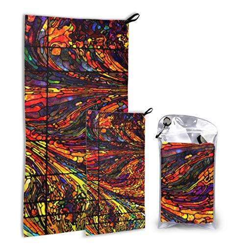 RGFDF Vintage Window Glass Floral 2er Pack Mikrofaser Big Drying Handtuch Bedrucktes Handtuch Set Schnelltrocknend Am besten für Gym Travel Backpacking Yoga Fitness
