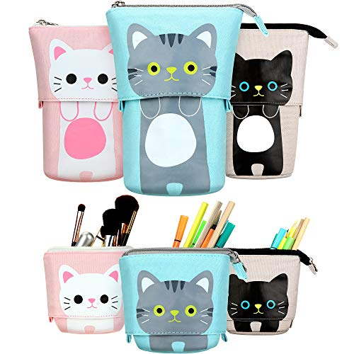 3 Pieces Transformer Stand Store Pencil Holder Canvas PU Cartoon Cute Cat Telescopic Pencil Organizer Cosmetics Pouch Makeup Bag Stationery Pen Case Box with Zipper (Gray, Black and White)