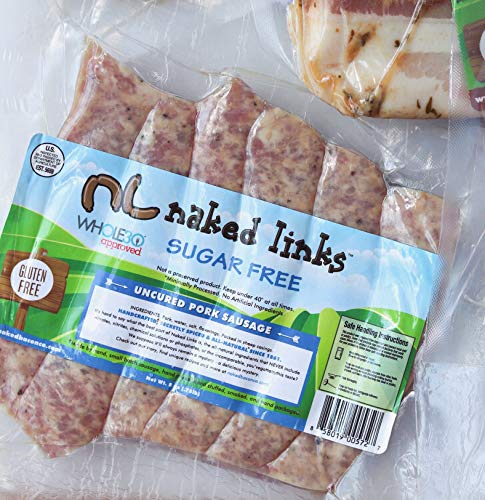 Sugar Free Breakfast Sausage Links - Naked Links - Whole30 Approved Multipack (5 packages) - No Nitrates, No Sugar, Paleo, Keto, WW Friendly, Lower Fat, Lower Sodium