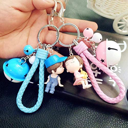 BESTSUGER Car Styling Keychain Creative couple key ring pendant, cute boys and girls key pendant, Fit For car keychain, girls backpack fashion pendant jewelry-A8,Colour Name:A9 Keychain, (Color : A4)