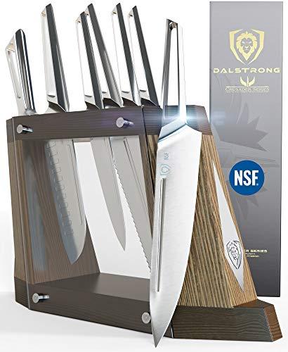 DALSTRONG - Set di 8 coltelli in acciaio INOX tedesco forgiato Thyssenkrupp con guaina magnetica, certificato NSF